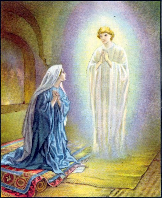 Mary is visted by the angel Gabriel